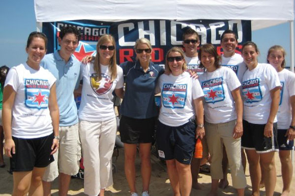 Beach Soccer with Chicago Red Stars staff and Leslie Osborne in 2008