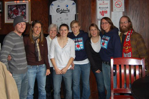 Tom Dunmore, Denise Reddy, Mrs. Carney, Karen Carney, Ella Masar, Emma Hayes, Alyse LaHue and Ben Burton at the Globe Pub in 2009
