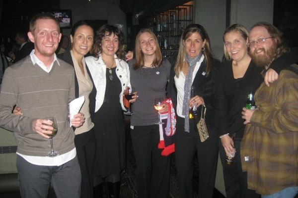 Tom Dunmore, Kate Markgraf, Nicole Hack, Kari Kouba, Denise Reddy, Emma Hayes and Ben Burton at the Chicago Red Stars Charity Event in 2008