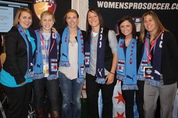 Emma Hayes, Ella Masar, Whitney Engen, Jillian Loyden, Sophie Reiser and Denise Reddy at the 2010 WPS Draft